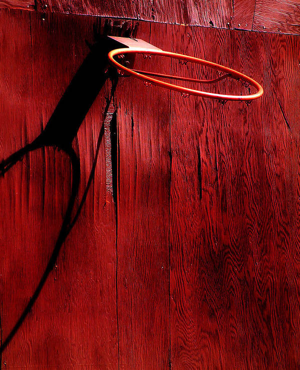 Red Poster featuring the photograph Basketball Hoop by Lane Erickson