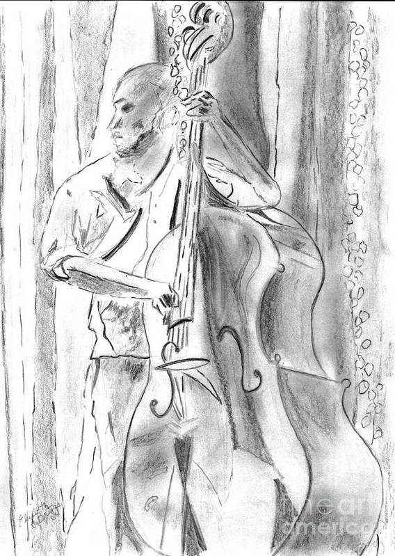 Music Poster featuring the drawing Bass Fiddle Blues by Elizabeth Briggs