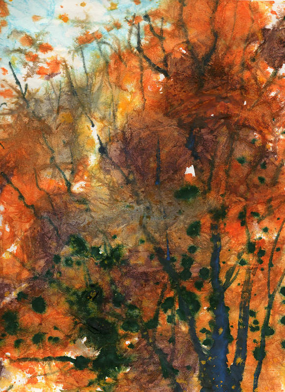 Nature Poster featuring the painting Batik Style/new England Fall-scape No.34 by Sumiyo Toribe