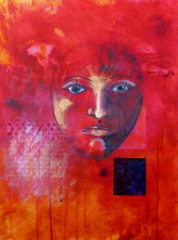 Abstract Portrait Poster featuring the painting Be Golden by Nancy Merkle