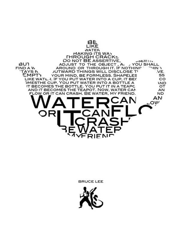 Be Water Bruce Lee Poster by Gina Dsgn