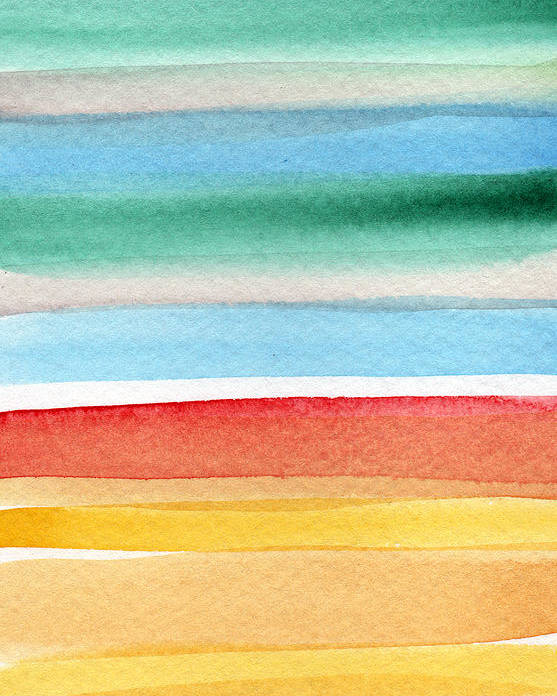 Beach Landscape Painting Poster featuring the painting Beach Blanket- colorful abstract painting by Linda Woods