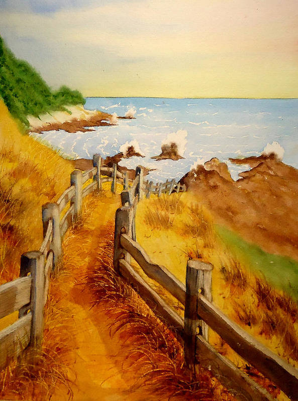 Weather Beaten Wood Fence Poster featuring the painting Beach Path by Sandra Stone
