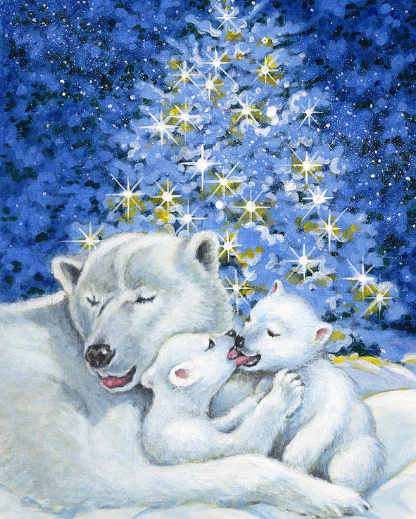 Christmas Poster featuring the painting Bear Hug by Richard De Wolfe