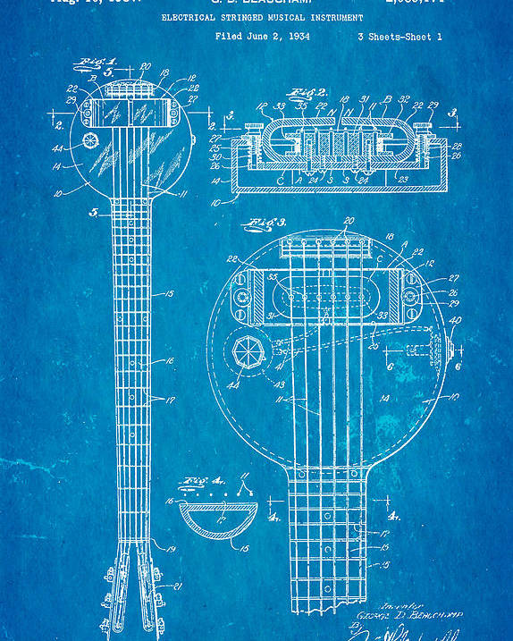 Beauchamp first electric guitar patent art 1937 blueprint poster by electricity poster featuring the photograph beauchamp first electric guitar patent art 1937 blueprint by ian monk malvernweather Images