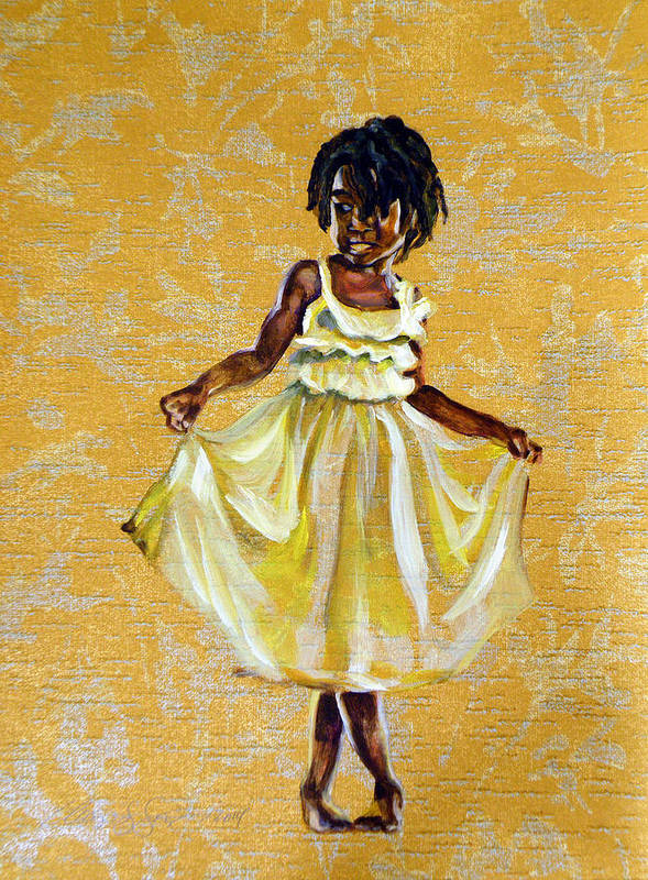 Girl African American Dredlocks Cute Yellow Young Smiling Curtsy Happy Gold Floral Ballet Ballerina Black Positive Image Wallpaper Dress Culture Traditional Poster featuring the painting Beautiful Charm by Clayton Singleton