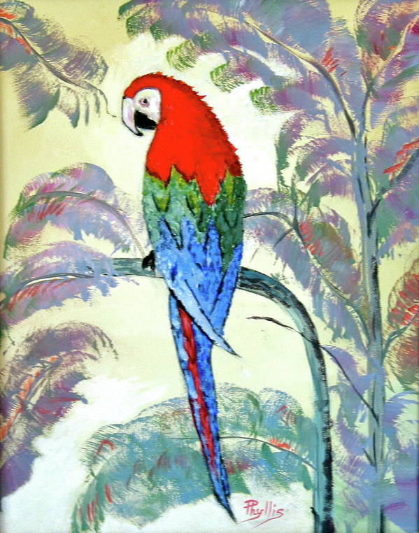Red Poster featuring the painting Beautiful Parrot For Someone Special by Phyllis Kaltenbach