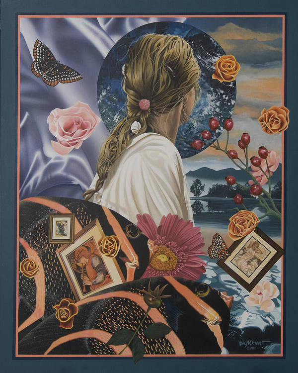 Butterfly Poster featuring the painting Beautiful View by Nancy M Garrett