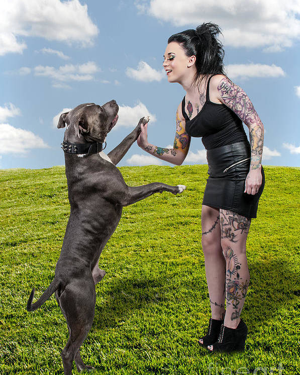 Adult Poster featuring the photograph Beautiful Woman And Pit Bull by Rob Byron