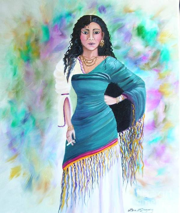 Gypsy Woman Poster featuring the painting Beautiful Zoli by Lora Duguay