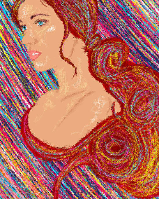 Hair Abstract Art Poster featuring the painting Beauty Of Hair Abstract by Kenal Louis