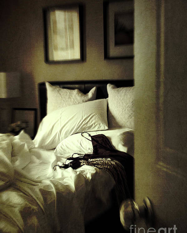 Atmosphere Poster featuring the photograph Bedroom Scene With Under Garments On Bed by Sandra Cunningham