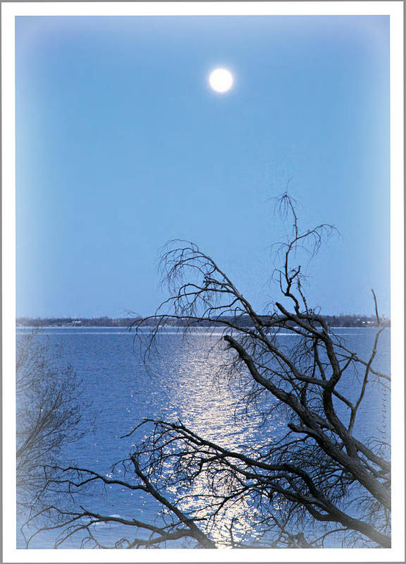 Beginning Birth Dslr Canon 60d Camera First Shot Image Photograph Moonlight Lake Ontario Millhaven Canada March 26/2013 Reflections Water Blue Seascape Skyscape Landscape Poster featuring the digital art Beginnings by Donna Brown