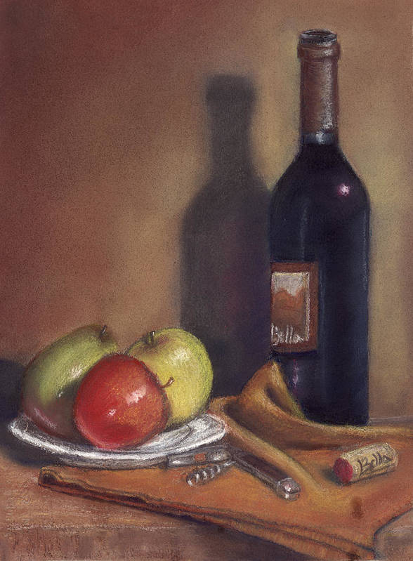 Wine Poster featuring the painting Bella Wine Tasting by Ellen Minter
