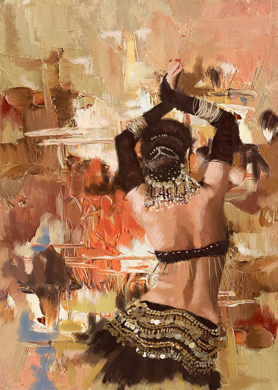Belly Dance Art Poster featuring the painting Belly Dancer Back by Corporate Art Task Force