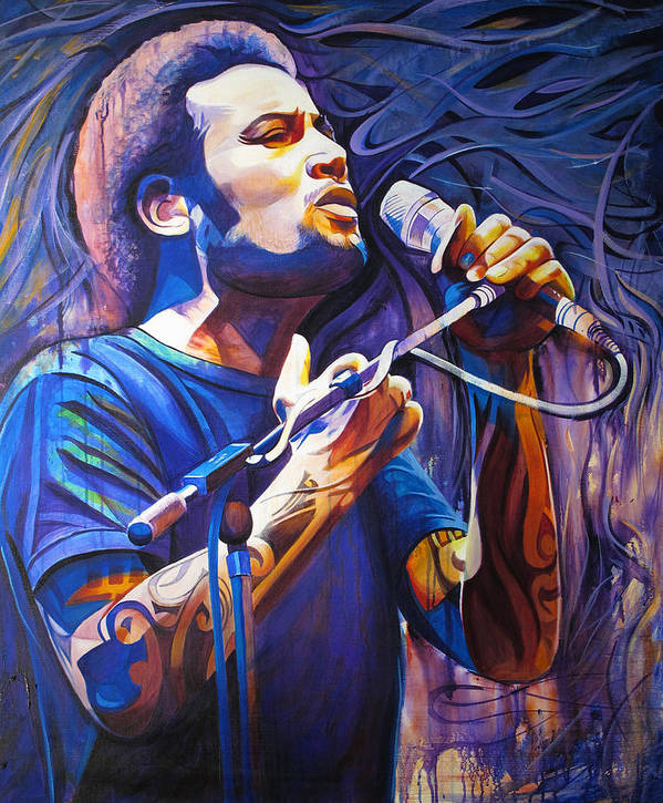 Ben Harper Poster featuring the painting Ben Harper And Mic by Joshua Morton