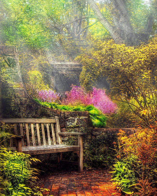 Savad Poster featuring the photograph Bench - Tranquility II by Mike Savad