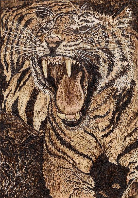 Tiger Poster featuring the pyrography Bengal Tiger by Vera White