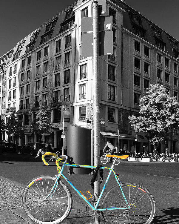 Berlin Poster featuring the photograph Berlin Street View With Bianchi Bike by Ben and Raisa Gertsberg