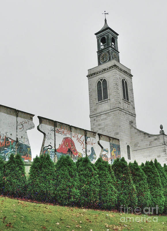 Christopher Wren Designed Church Poster featuring the photograph Berlin Wall Segment by David Bearden