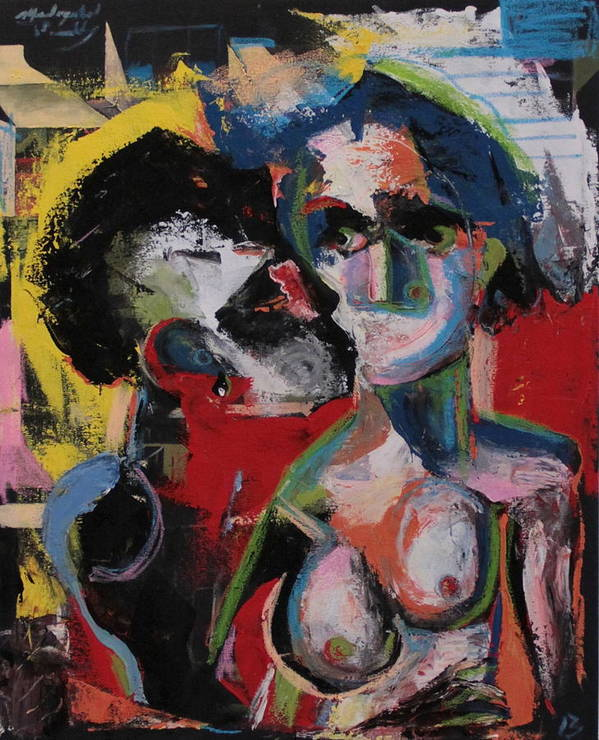Beso Poster featuring the painting Beso by Piki Mendizabal