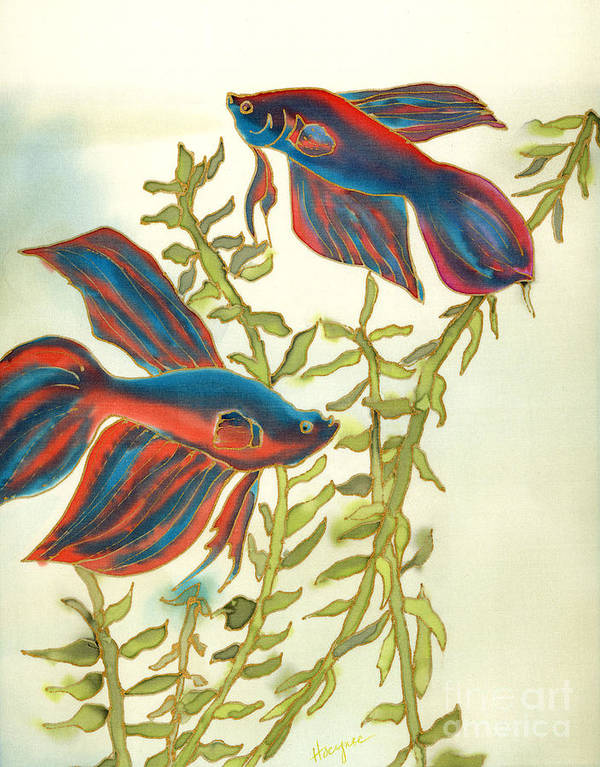 Painting Poster featuring the painting Betta Splendens by Addie Hocynec
