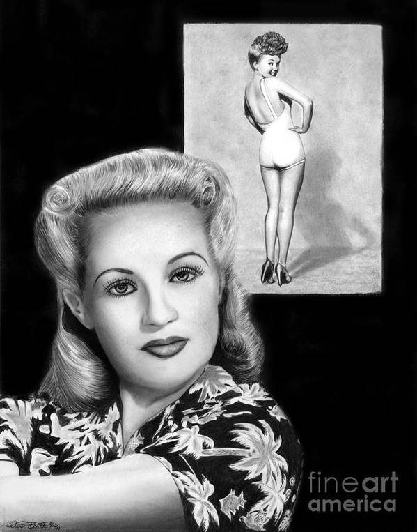 Betty Grable Poster featuring the drawing Betty Grable by Peter Piatt