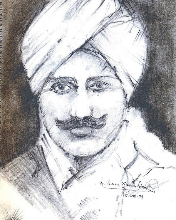 Poster featuring the drawing Bharathi by Jeya Prakash Ashokan