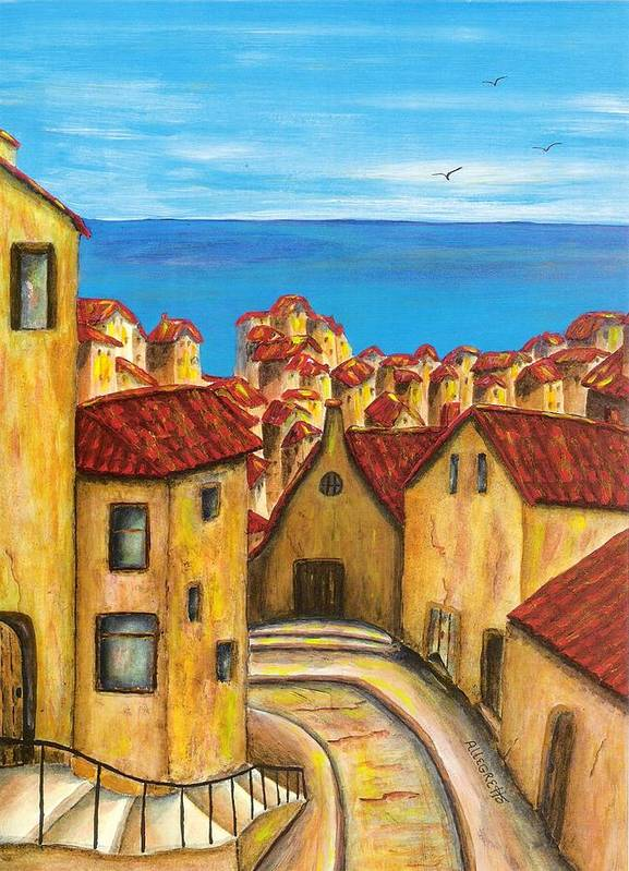 Pamela Allegretto Poster featuring the painting Biagi In Tuscany by Pamela Allegretto