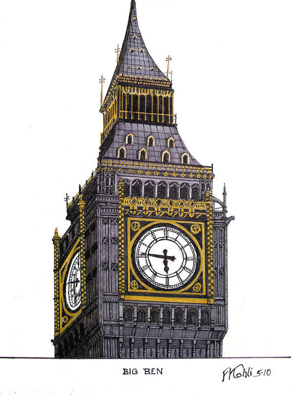 Ink Drawings Poster featuring the drawing Big Ben by Frederic Kohli