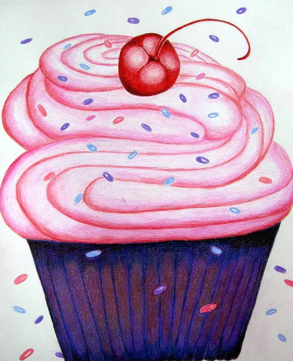 Cake Poster featuring the drawing Big Cupcake by Kori Vincent