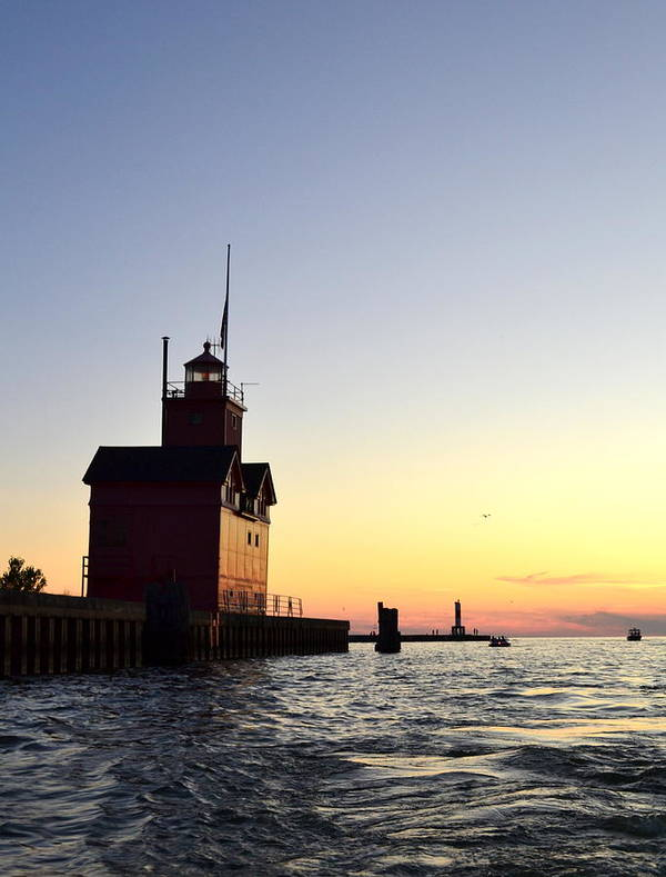 Lighthouse Poster featuring the photograph Big Red At Sunset by Michelle Calkins