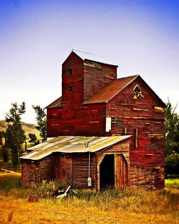 Grain Elevator Poster featuring the photograph Big Red Grain Elevator by Marty Koch