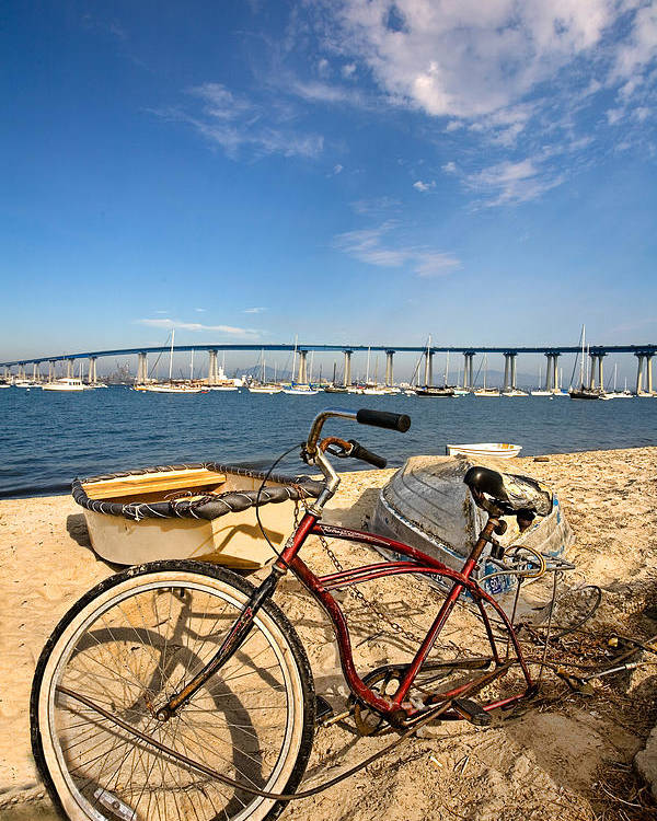Beach Poster featuring the photograph Bike And A Brdige by Peter Tellone
