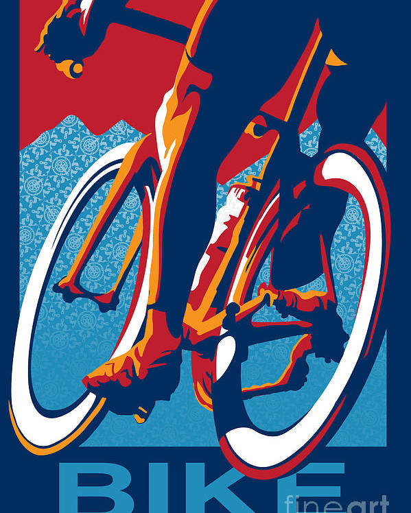 Retro Cycling Poster Poster featuring the painting Bike Hard by Sassan Filsoof