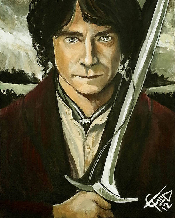 The Hobbit Poster featuring the painting Bilbo Baggins by Tom Carlton
