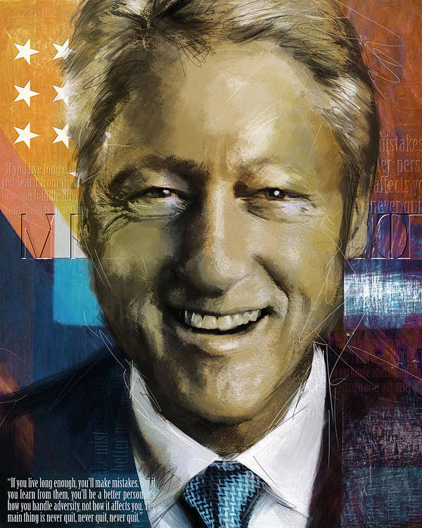Bill Clinton Poster featuring the painting Bill Clinton by Corporate Art Task Force