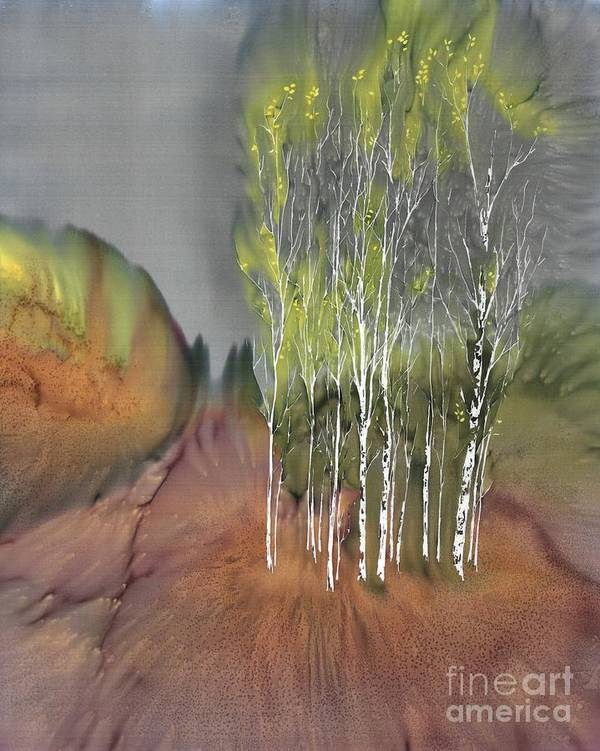 Batik Poster featuring the tapestry - textile Birch Grove 1 by Carolyn Doe