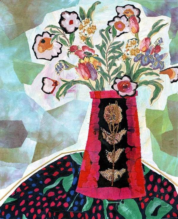 Flowers In A Vase Poster featuring the mixed media Bird Blossom Vase by Diane Fine