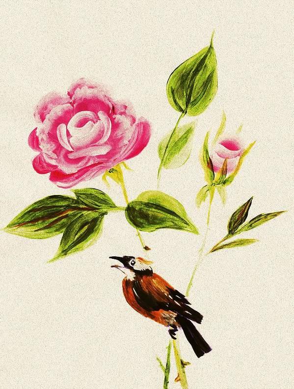 Malakhova Poster featuring the painting Bird On A Flower by Anastasiya Malakhova