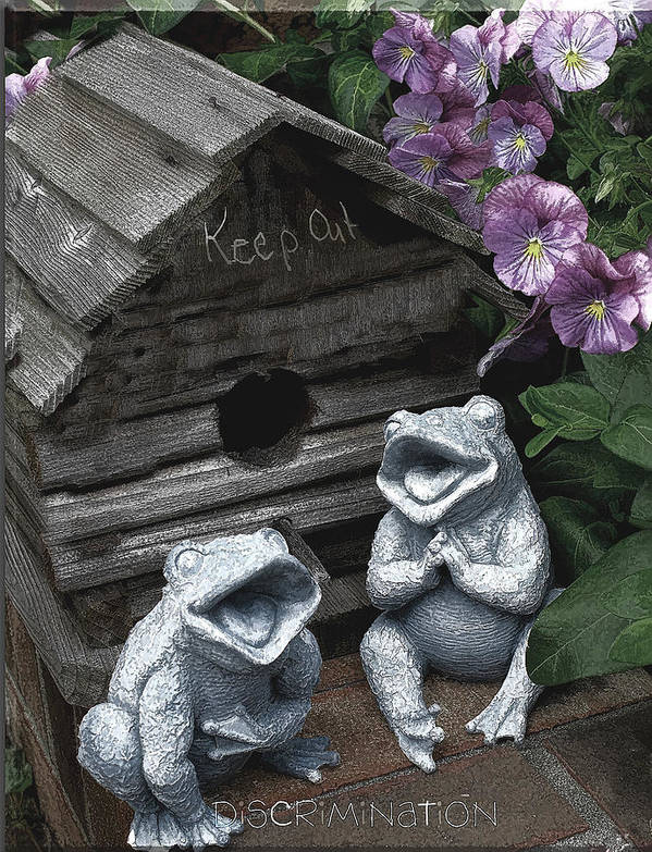 Birdhouse Poster featuring the photograph Birdhouse With Frogs by Bonnie Willis