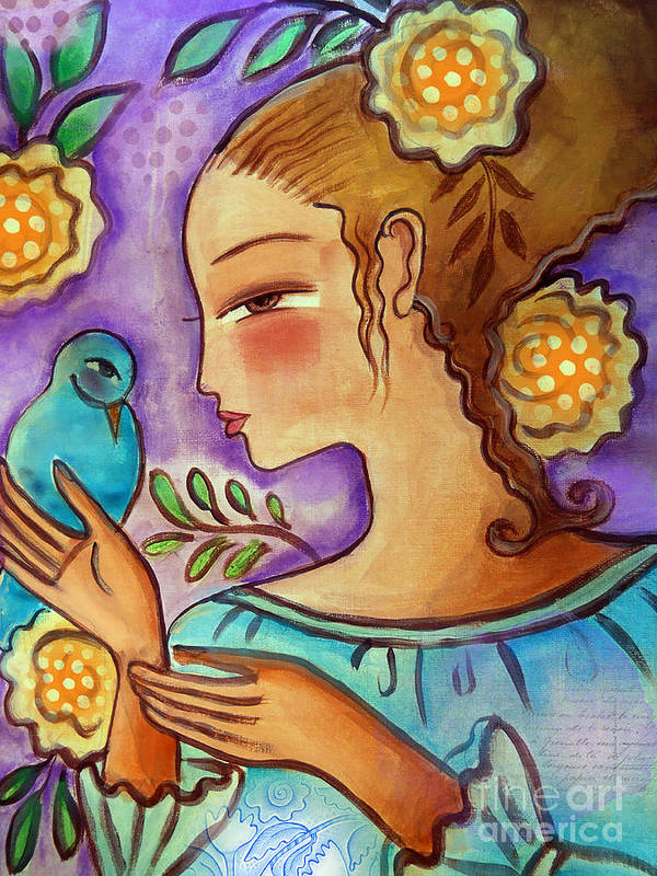 Flowers Poster featuring the mixed media Birdie by Elaine Jackson