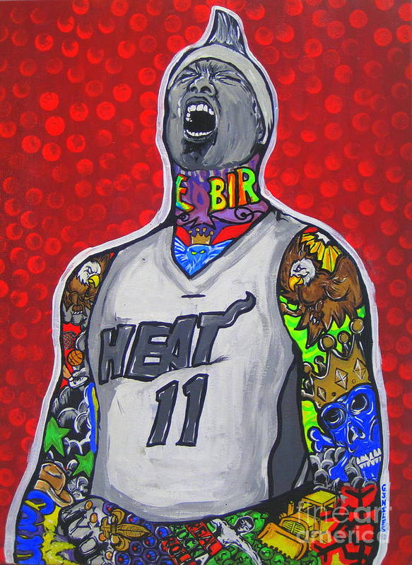 Miami Heat Poster featuring the painting Birdman by Gary Niles