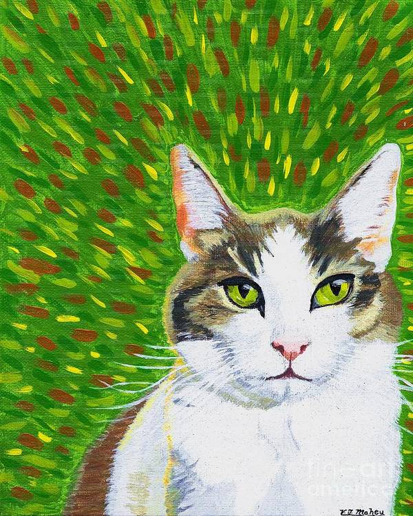 Cat Poster featuring the painting Biz Biz Another Green Eyed Tiger by Vicki Maheu