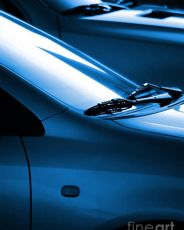 Auto Poster featuring the photograph Black And Blue Cars by Carlos Caetano