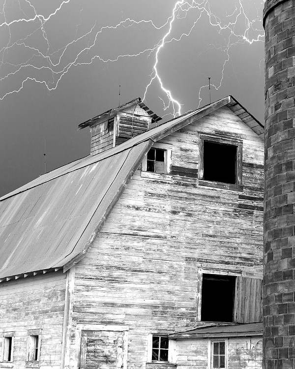 Lightning Poster featuring the photograph Black And White Old Barn Lightning Strikes by James BO Insogna