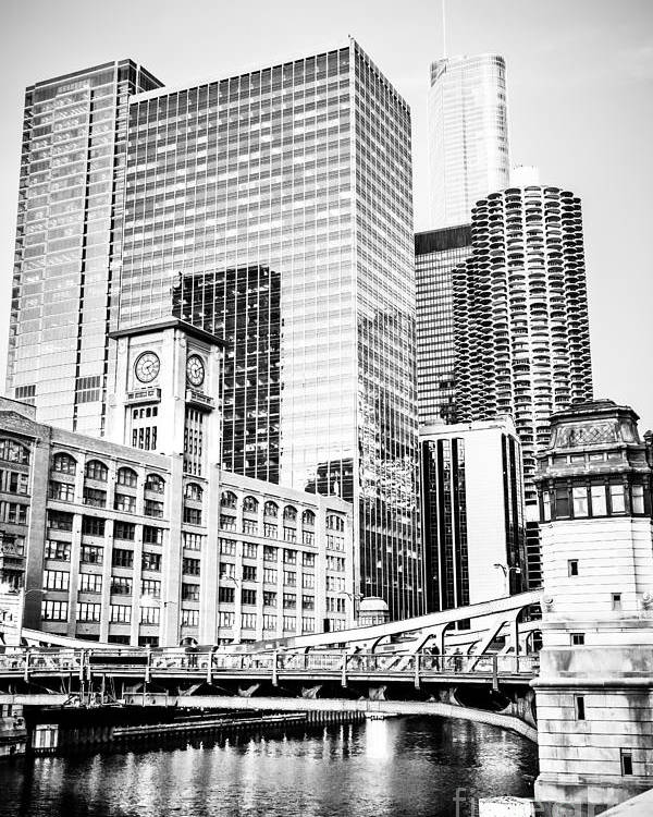 America Poster featuring the photograph Black And White Picture Of Chicago At Lasalle Bridge by Paul Velgos