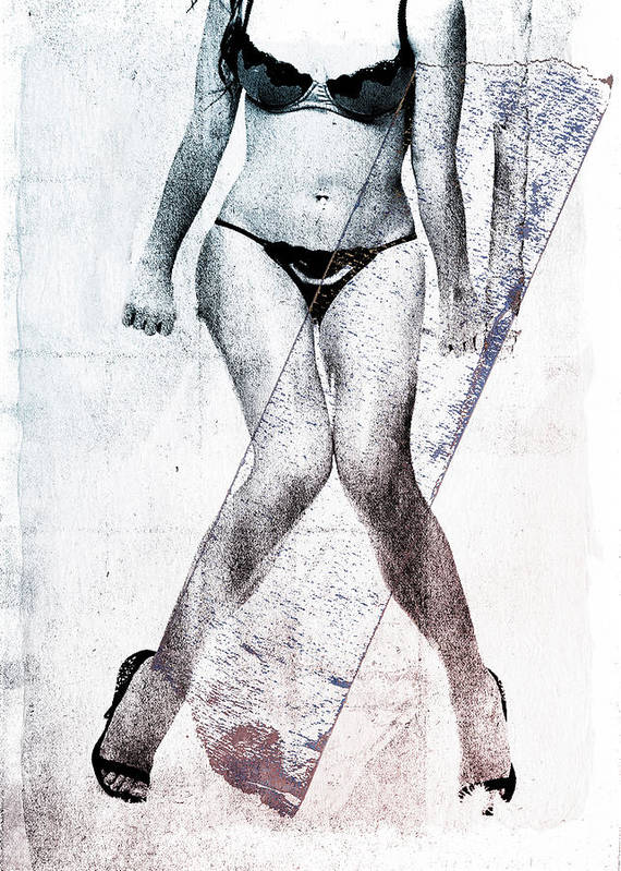 Legs Poster featuring the digital art Black Bikini by David Ridley