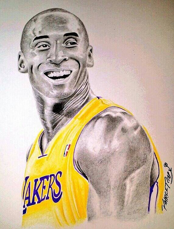 Kobe Bryant Poster featuring the drawing Black Mamba by Patrick Rose