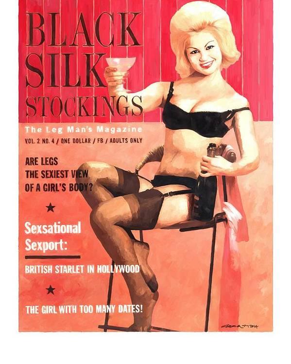 Black Silk Magazine Poster featuring the digital art Black Silk - Vintage Magazine Covers Series by Gabriel T Toro